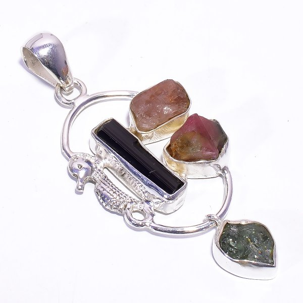 Tourmaline Aquamarine Raw Gemstone 925 Sterling Silver Pendant