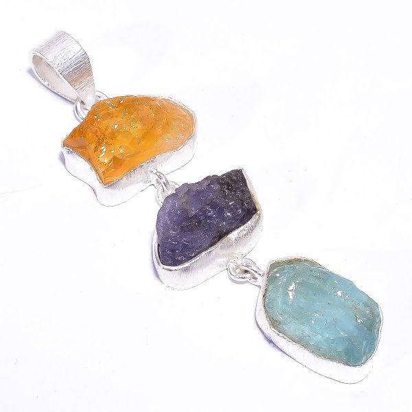 Citrine Tanzanite Raw Gemstone 925 Sterling Silver Pendant