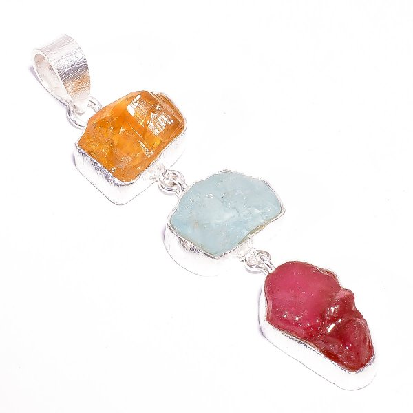 Ruby Aquamarine Raw Gemstone 925 Sterling Silver Pendant