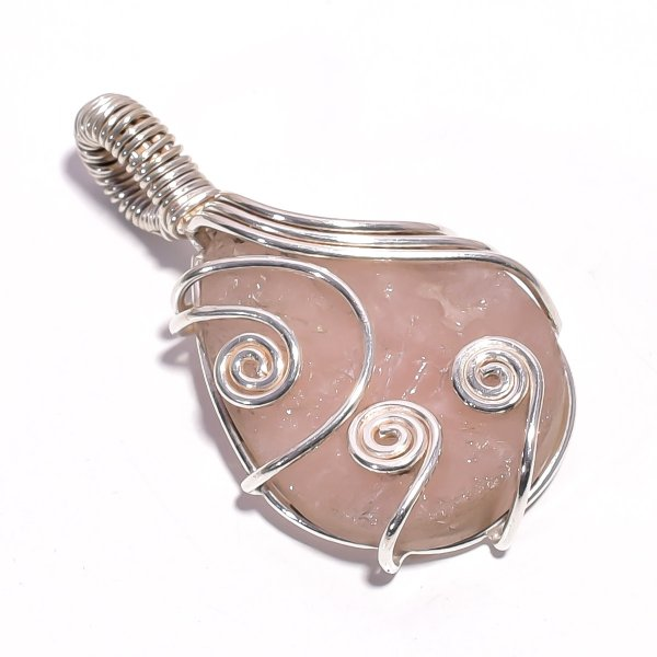 Rose Quartz Raw Gemstone 925 Sterling Silver Wire Wrapped Pendant