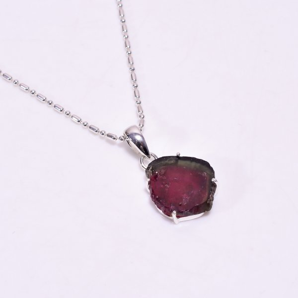 Raw Watermelon Tourmaline Gemstone 925 Sterling Silver Chain Pendant Necklace
