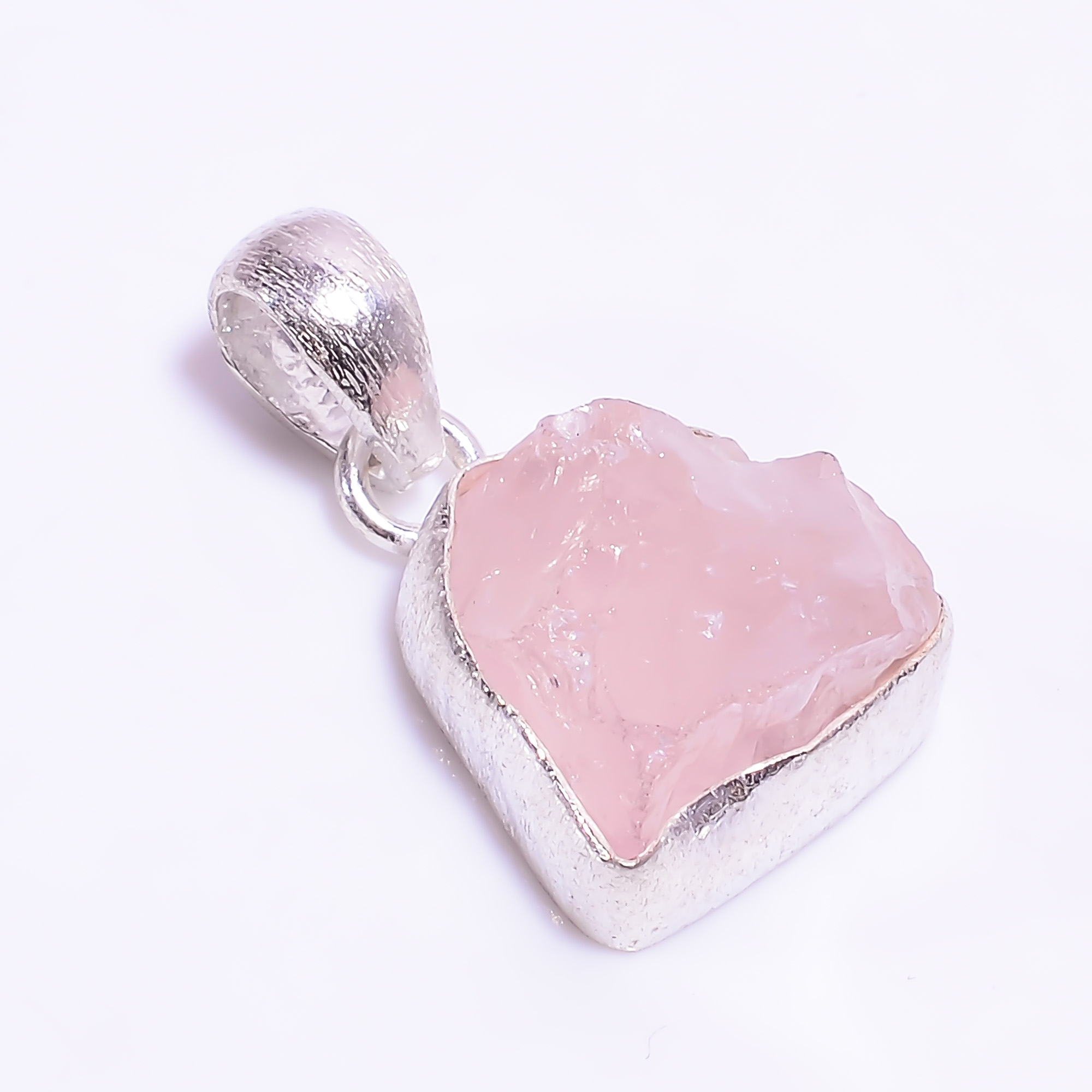 Natural Raw Rose Quartz Gemstone 925 Sterling Silver Pendant