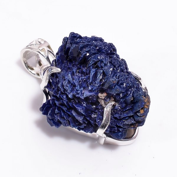 Natural Raw Azurite Gemstone 925 Sterling Silver Pendant