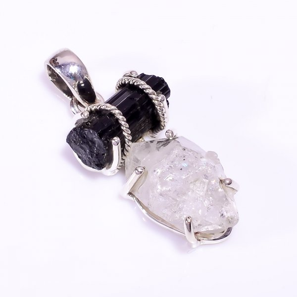 Natural Black Tourmaline Herkimer Diamond 925 Sterling Silver Pendant