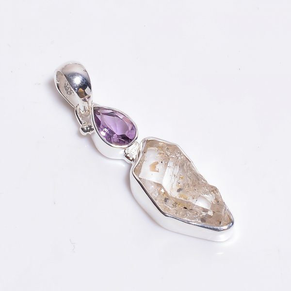 Natural Herkimer Diamond Amethyst Gemstone 925 Sterling Silver Pendant