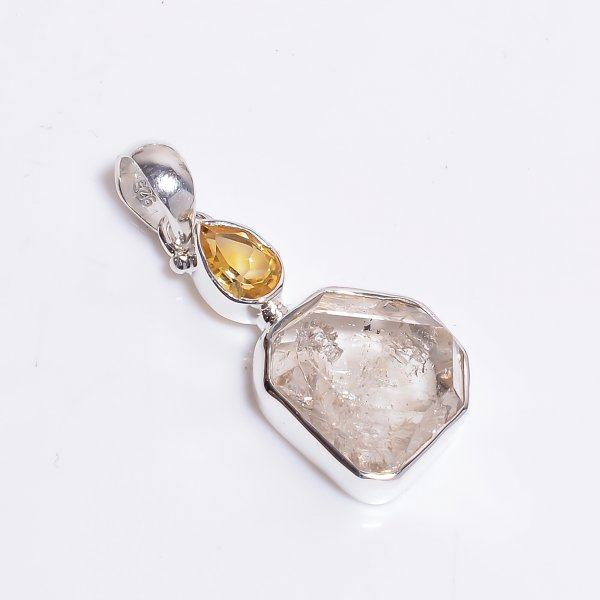 Natural Herkimer Diamond Citrine Gemstone 925 Sterling Silver Pendant
