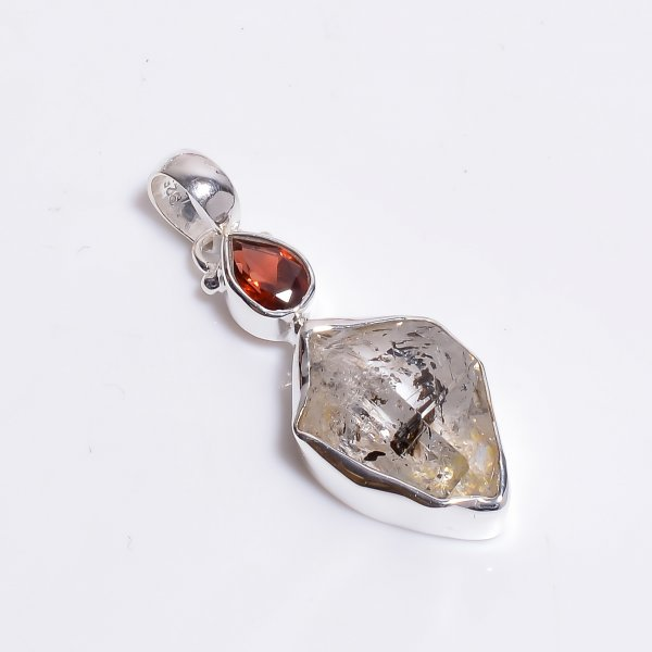 Natural Herkimer Diamond Garnet Gemstone 925 Sterling Silver Pendant