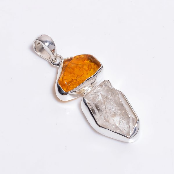 Natural Amber Herkimer Diamond 925 Sterling Silver Pendant