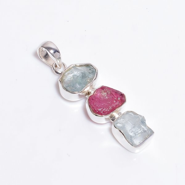 Natural Aquamarine Ruby Gemstone 925 Sterling Silver Pendant