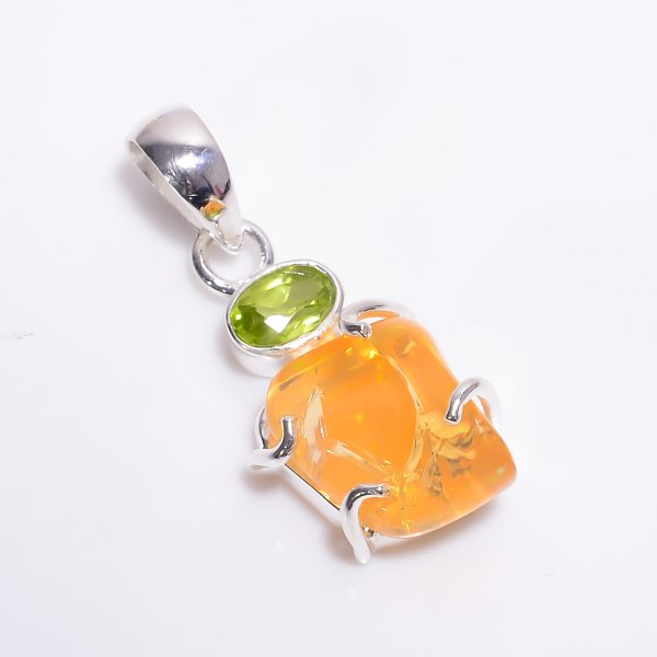 Peridot Mexican Fire Opal Raw Gemstone 925 Sterling Silver Pendant
