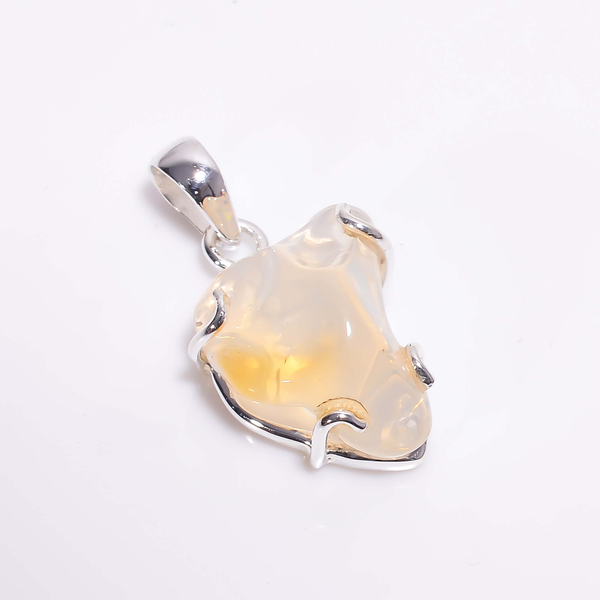 Mexican Opal Raw Gemstone 925 Sterling Silver Pendant