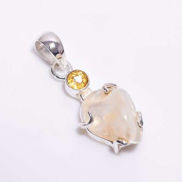 Citrine Mexican Opal Raw Gemstone 925 Sterling Silver Pendant