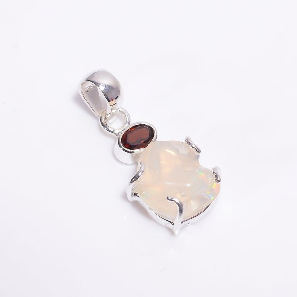 Garnet Mexican Opal Raw Gemstone 925 Sterling Silver Pendant