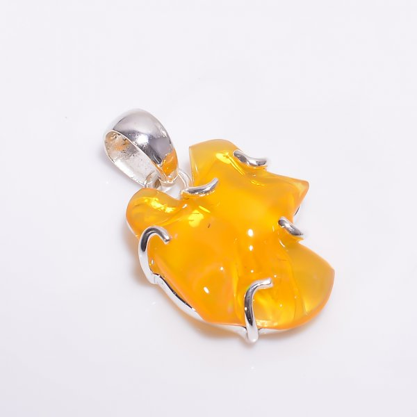 Mexican Fire Opal Raw Gemstone 925 Sterling Silver Pendant
