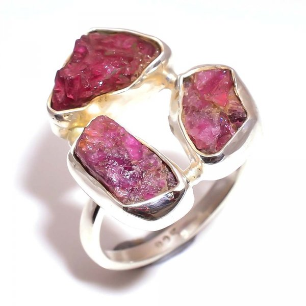 Pink Tourmaline Raw Gemstone 925 Sterling Silver Ring Size 6.75