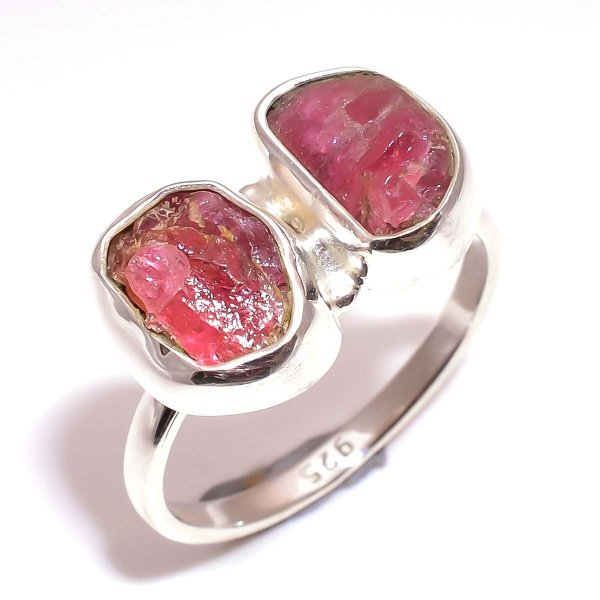 Pink Tourmaline Raw Gemstone 925 Sterling Silver Ring Size 8.25