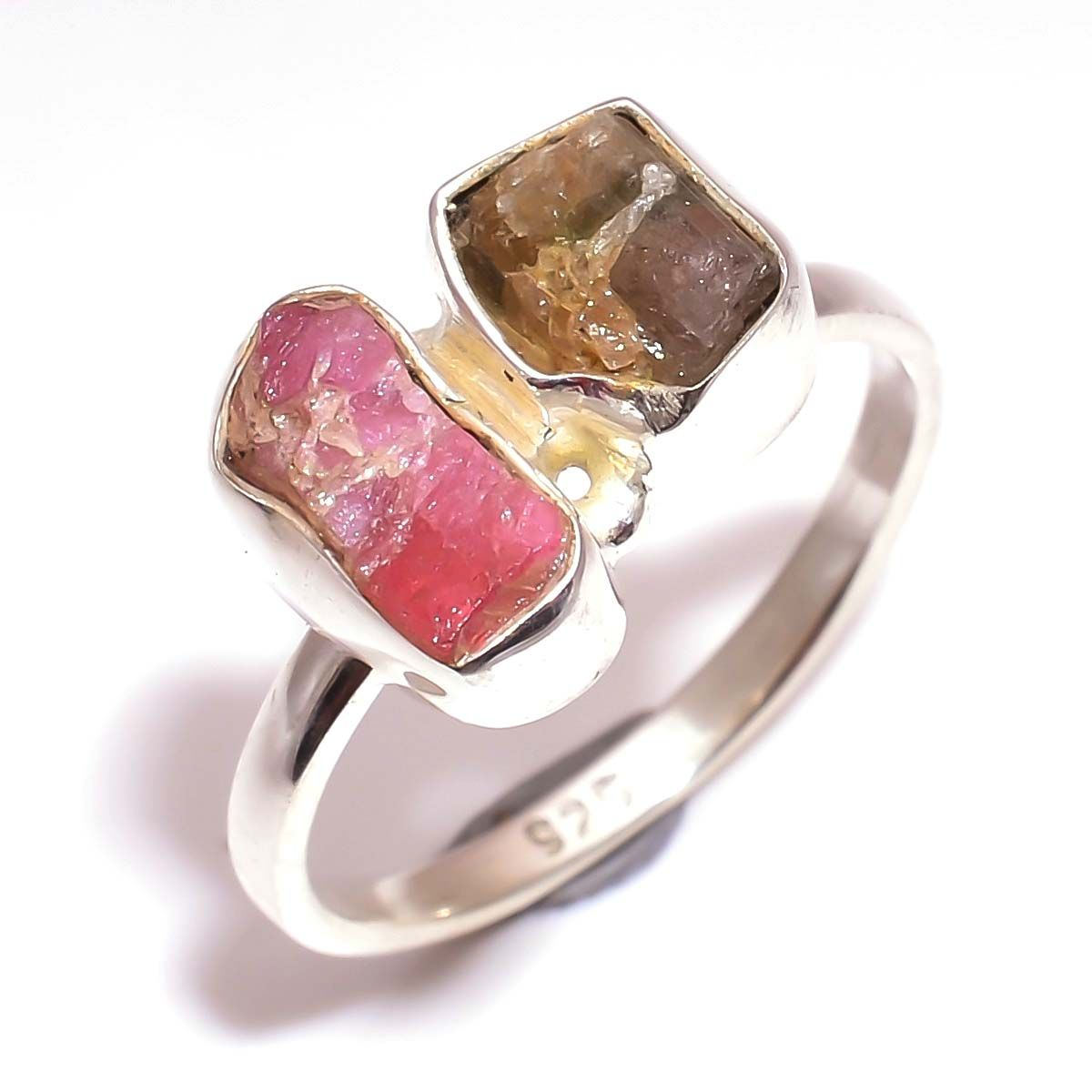 Multi Tourmaline Raw Gemstone 925 Sterling Silver Ring Size 8