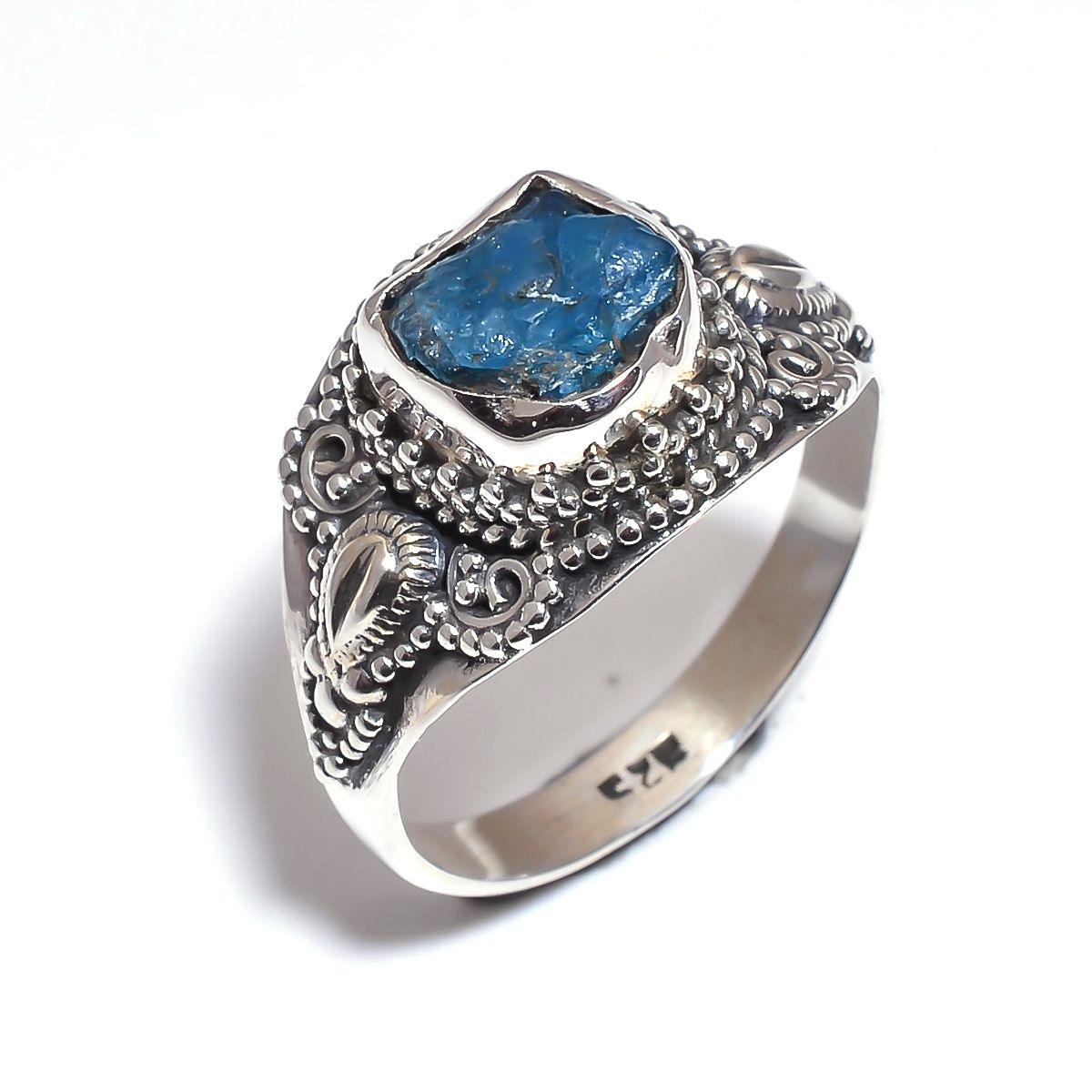 Neon Apatite Raw Gemstone 925 Sterling Silver Ring Size 9