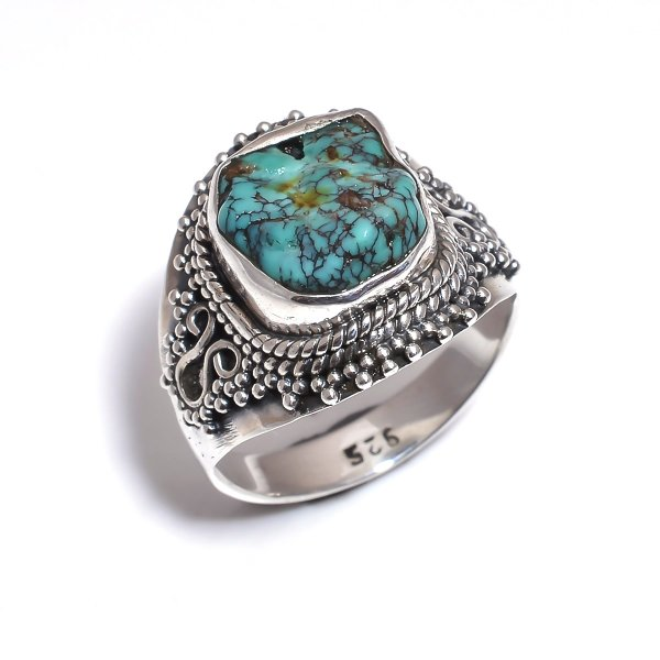 Turquoise Raw Gemstone 925 Sterling Silver Ring Size 6