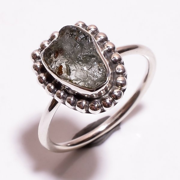 Aquamarine Raw Gemstone 925 Sterling Silver Ring Size 7.5