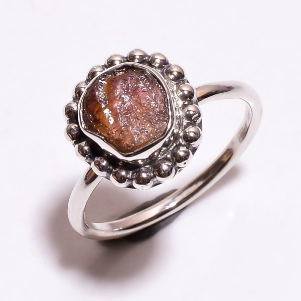 Tourmaline Raw Gemstone 925 Sterling Silver Ring Size 7
