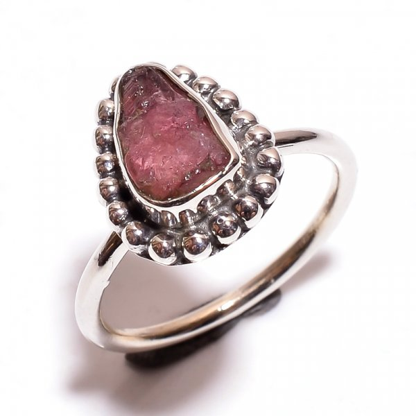 Tourmaline Raw Gemstone 925 Sterling Silver Ring Size 6.25