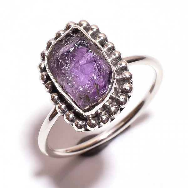 Amethyst Raw Gemstone 925 Sterling Silver Ring Size 9.5