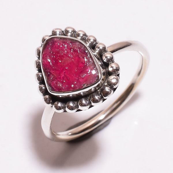 Corundum Ruby Raw Gemstone 925 Sterling Silver Ring Size 7.25