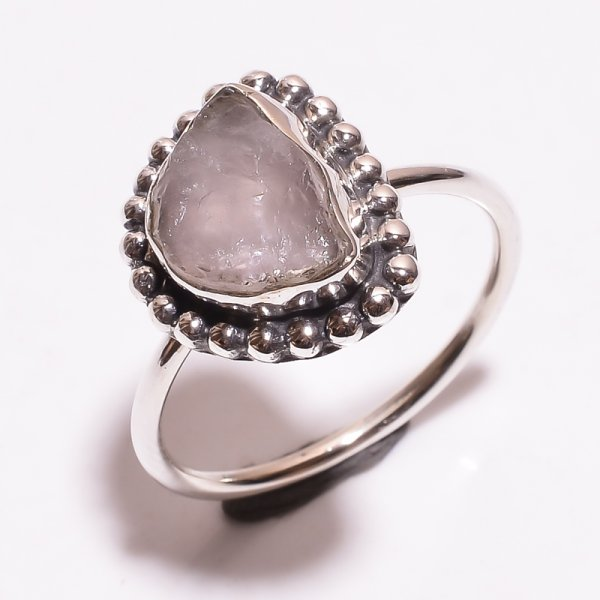 Rose Quartz Raw Gemstone 925 Sterling Silver Ring Size 9.5
