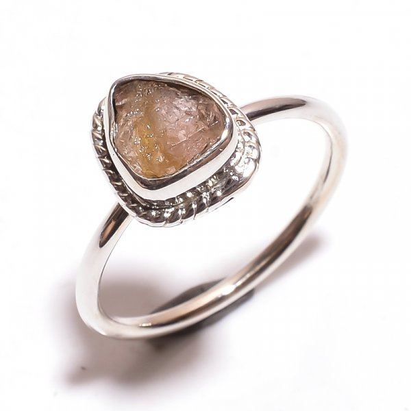 Tourmaline Raw Gemstone 925 Sterling Silver Ring Size 8.25