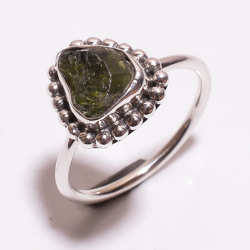 Tourmaline Raw Gemstone 925 Sterling Silver Ring Size 8.5
