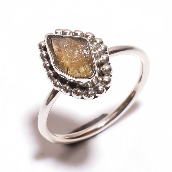 Tourmaline Raw Gemstone 925 Sterling Silver Ring Size 8.75