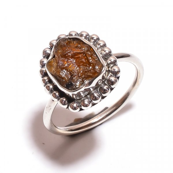 Tourmaline Raw Gemstone 925 Sterling Silver Ring Size 6.5