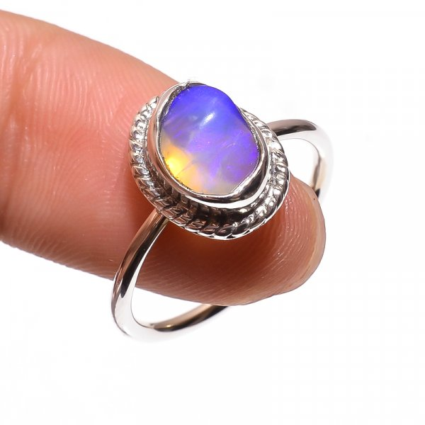 Australian Opal Raw Gemstone 925 Sterling Silver Ring Size 7.25