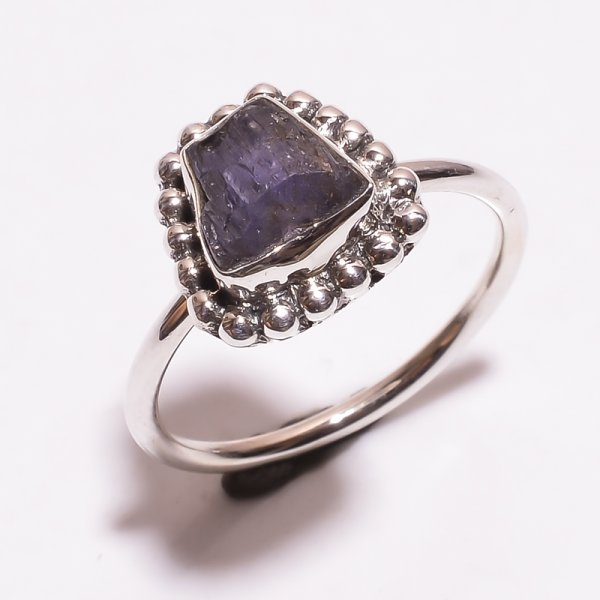 Tanzanite Raw Gemstone 925 Sterling Silver Ring Size 8.5