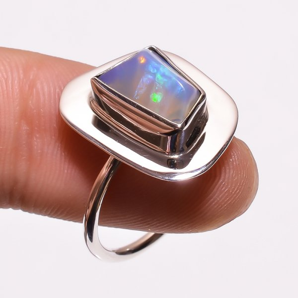 Australian Opal Raw Gemstone 925 Sterling Silver Ring Size 7