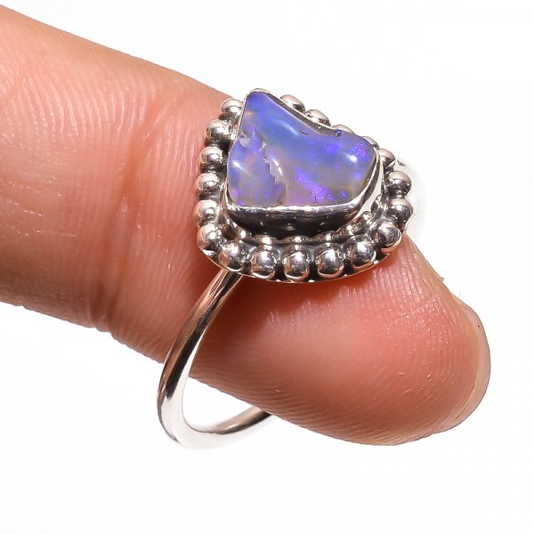 Australian Opal Raw Gemstone 925 Sterling Silver Ring Size 8.75