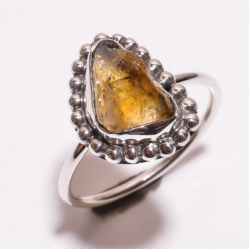 Citrine Raw Gemstone 925 Sterling Silver Ring Size 9.75