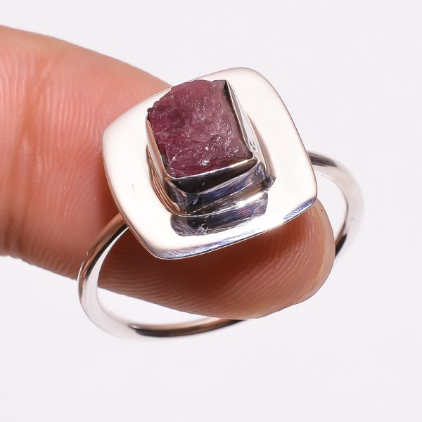Tourmaline Raw Gemstone 925 Sterling Silver Ring Size US 9