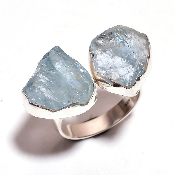 Aquamarine Raw Gemstone 925 Sterling Silver Ring Size 7.5 Adjustable