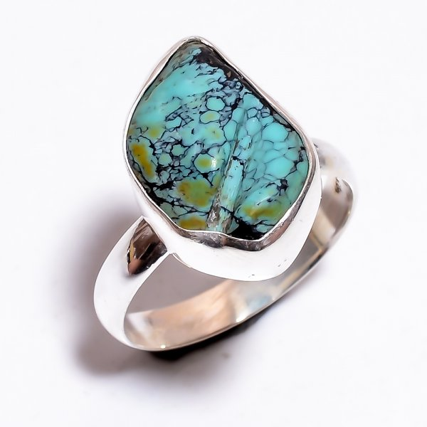 Turquoise Raw Gemstone 925 Sterling Silver Ring Size 7.25 Adjustable