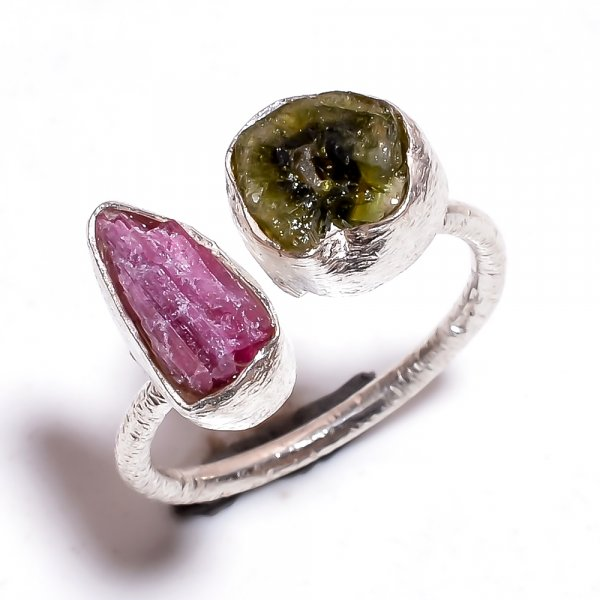 Tourmaline Raw Gemstone 925 Sterling Silver Ring Size 7 Adjustable