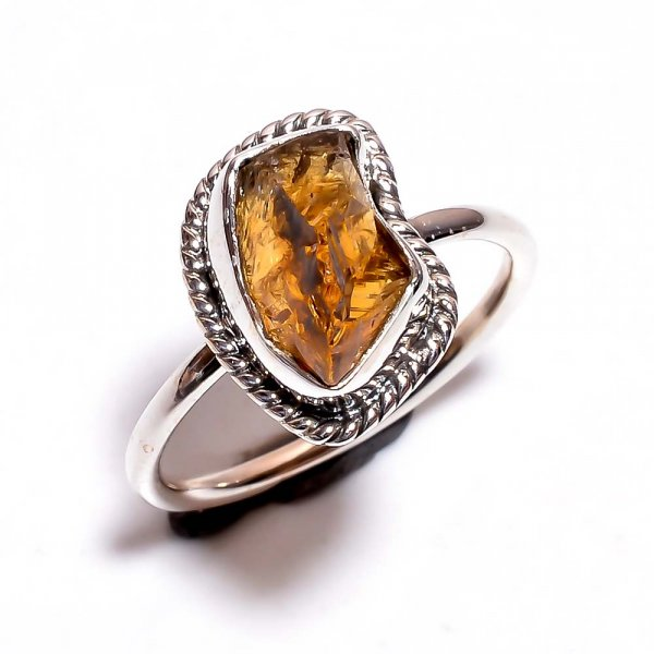 Citrine Raw Gemstone 925 Sterling Silver Ring Size 7.25
