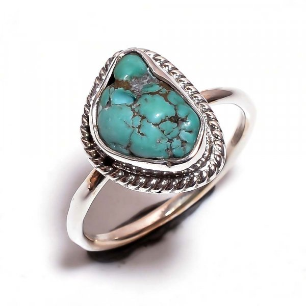Turquoise Raw Gemstone 925 Sterling Silver Ring Size 7.25