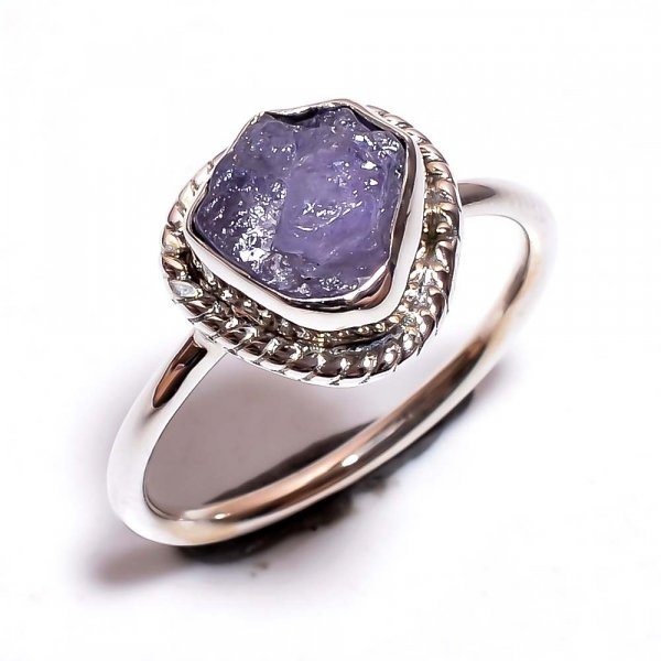 Tanzanite Raw Gemstone 925 Sterling Silver Ring Size 7.25