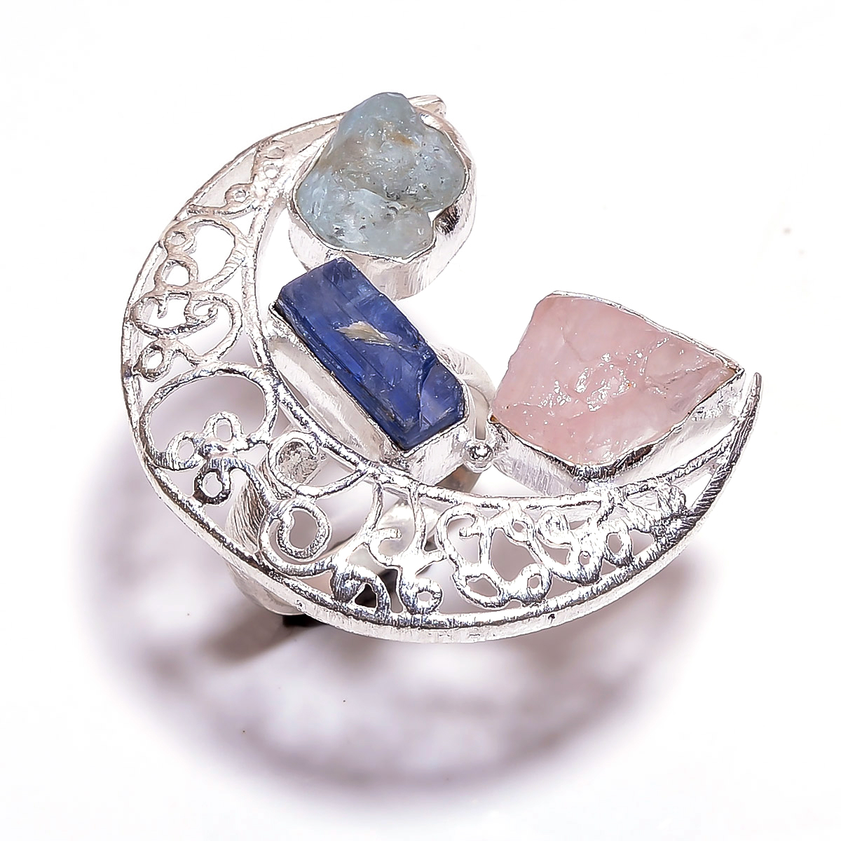 Rose Quartz Aquamarine  Raw Gemstone 925 Sterling Silver Ring Size 6