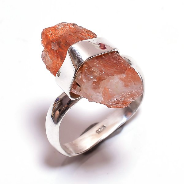 Sunstone Raw Gemstone 925 Sterling Silver Ring Size 9