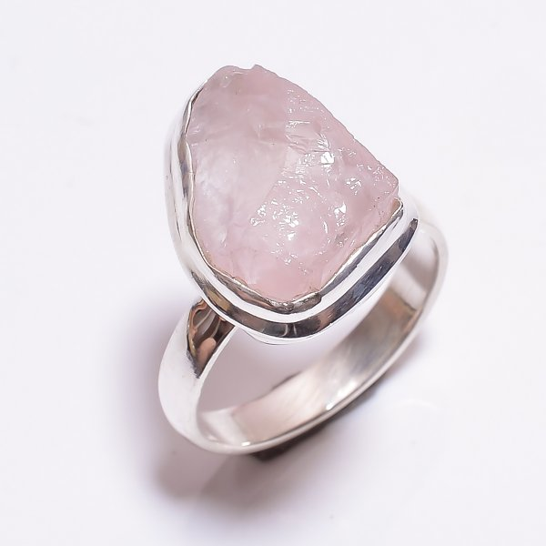 Rose Quartz Raw Gemstone 925 Sterling Silver Ring Size 7.75