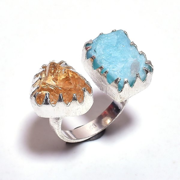 Citrine Amazonite Raw Gemstone 925 Sterling Silver Ring Size 8.5 Adjustable