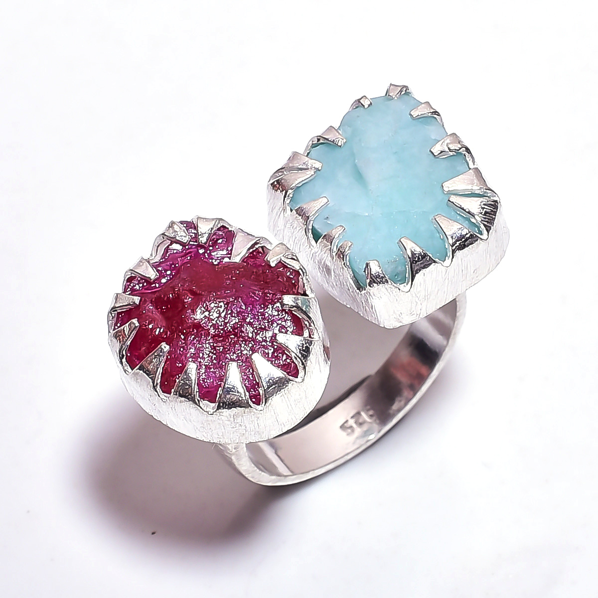 Amazonite Corundum Ruby Raw Gemstone 925 Sterling Silver Ring Size 8 Adjustable